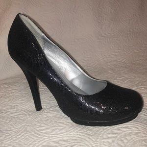 Charlotte Russe Sparkle Black Heel Platform Pumps